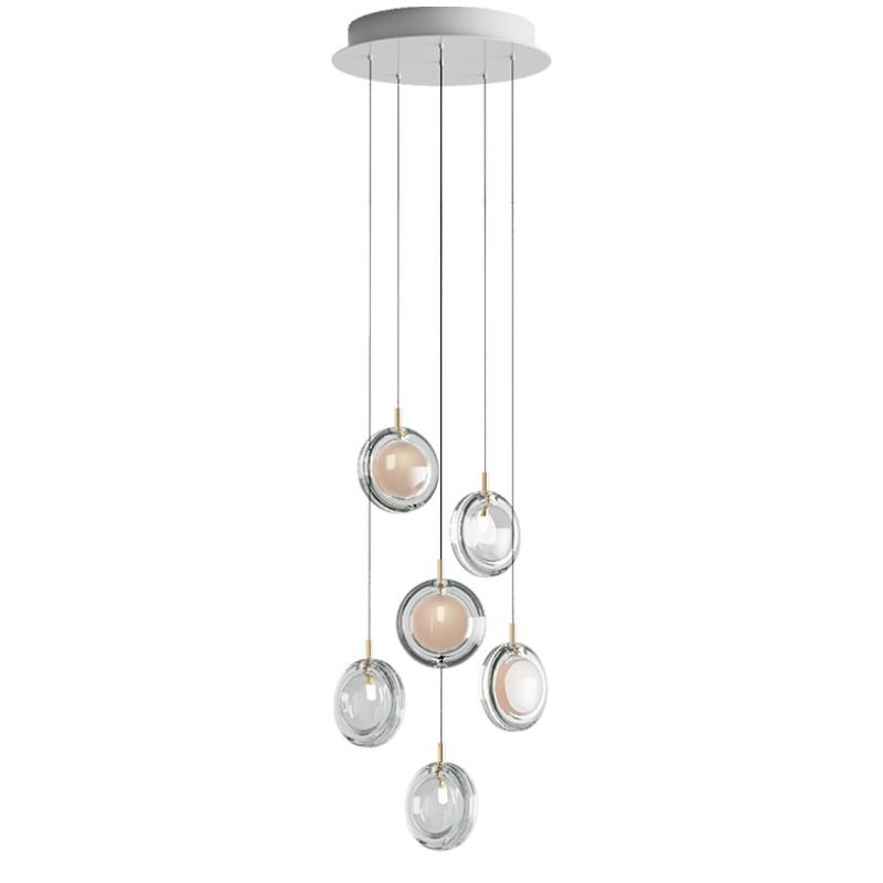 Pendant lamp LENS / 6 PCS 3X WHITE / 3X CLEAR
