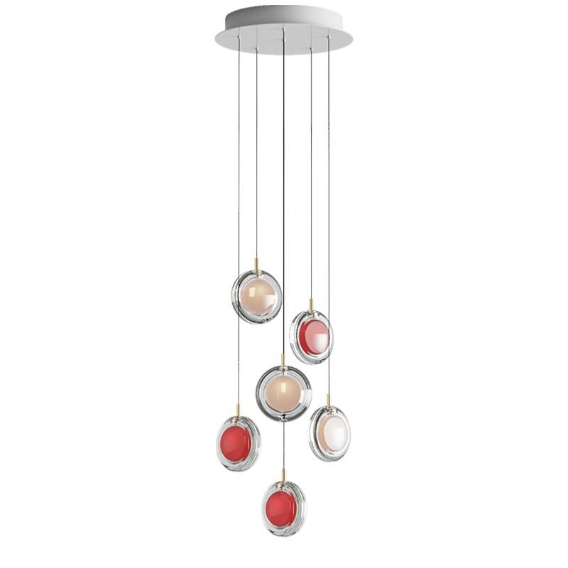 Pendant lamp LENS / 6 PCS 3X WHITE / 3X RED