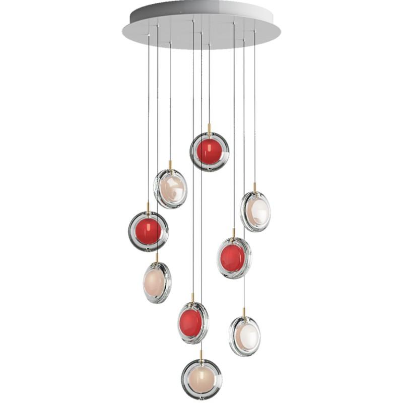 Pendant lamp LENS / 9 PCS 5X WHITE / 4X RED