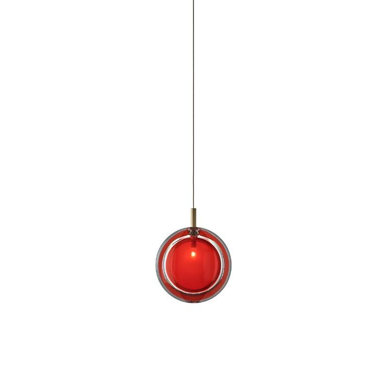 Pendant lamp LENS SINGLE RED / BRUSHED BRASS